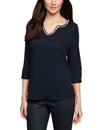 Comma Damen Bluse Regular Fit 81.402.19.5770 BLUSE 3/4 ARM, Gr. 34, Blau (5997 indigo)