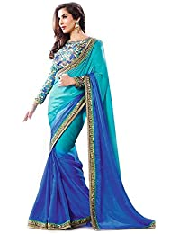 The Wardrobe Georgette Saree (Priyanka-Black_Orange)