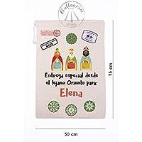 Gallaecia Studio Saco de algodón personalizado para regalos de los Reyes Magos 50x75cm
