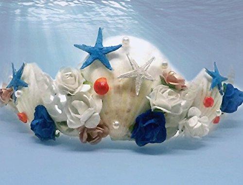 Meerjungfrau Krone Strand Hochzeit Haar Zubehör, Weiße und blaue Seashell Krone, Kostüm Ariel,