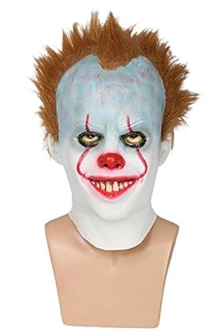 Cosplay Latex Hood Masque with Marron Perruque Halloween Clown Robe