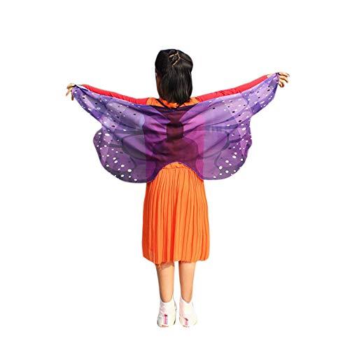 Xmiral Kinder Jungen Mädchen böhmischen Schmetterling Print Schal Kostüm Zubehör Anzug für 3-13J Kinder Chiffon(B-Violett) (Lifeguard Kostüm Zubehör)