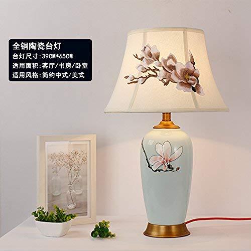Mtttd74100147 Schlafzimmer Nachttischlampe Retro Keramik Tischlampe Schlafzimmer Natürlich und Umweltfreundlich, Schützen Sie Ihre Augen, MTT, G-39 * 65 cm