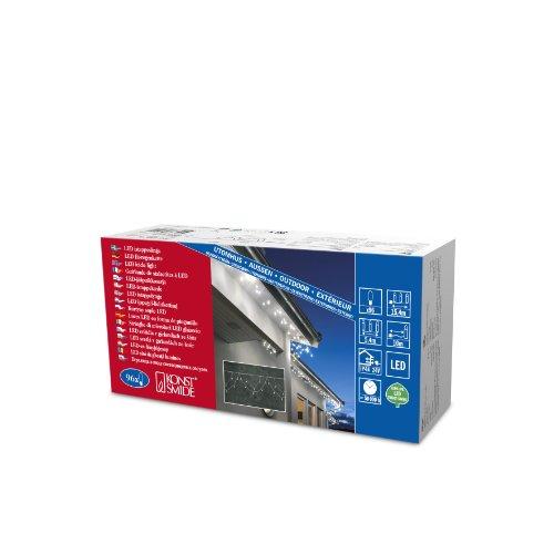Konstsmide 2748-102 LED Dachrinnenlichterkette in Bogenform / für Außen (IP44) /  24V Außentrafo / 96 warm weiße Dioden / weißes Kabel