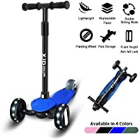 XJD Kids Scooter 3 Wheel Age 2-5 Kick Scooters Adjustable Height Handle with PU Flashing Wheels Direction Lock for Boys and Girls
