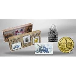 """USA - Vereinigte Staaten von Amerika - United States SET """" 150 Jahre Gettysburg """" 25 US Cent Gettysburg + Briefmarke Gettysburg + original Gewehrkugel im Sammlerset"""
