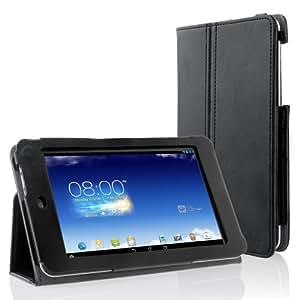 EasyAcc® PU Leder Tasche für ASUS MeMO Pad HD 7 hülle Flip Case Cover mit Standfunktion / Auto Sleep Wake up (PU Leder, Schwarz)