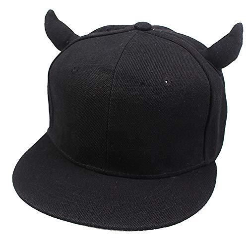 Bestickter Hip-Hop-Hut, Street Dance-Hornmütze, Devil Horn-Baseballmütze für Herren und Damen