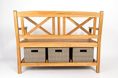 SAM® Gartenbank Flora aus Akazie, inklusive 3 x Polyrattan-Korb, Garten-Möbel aus Holz, geölt & natur, 121 x 60 cm, FSC® 100% zertifiziert, massive Holzbank, pflegeleichtes Unikat - 3