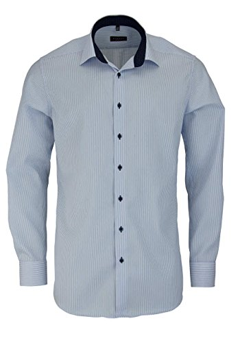 ETERNA Langarm Hemd MODERN FIT Twill gestreift, Größe W41 Langarm, Farbe Hellblau