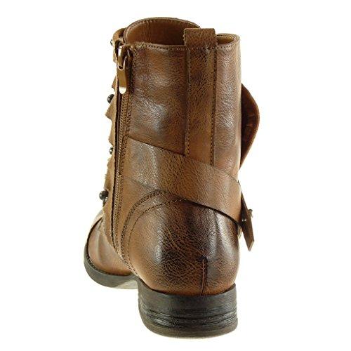 Angkorly Fashion Chaussures Bottines - Biker Chaussures Cavalier Femme Multi-bridon Studded Pearl Block Heel 2.5 Cm - Bottines Doublées De Fourrure