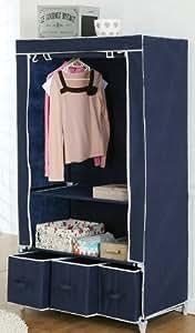 VonHaus Double Canvas effect Wardrobe Clothes Rail Storage in Navy – 3 Drawers