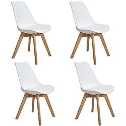 EGGREE 4er Set Esszimmerstühle mit Massivholz Eiche Bein, Retro Design Gepolsterter lStuhl Küchenstuhl Holz, Weiß
