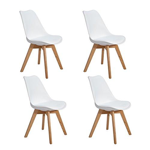 EGGREE 4er Set Esszimmerstühle Skandinavisch Küchenstuhl Stühle Modern mit Massivholz Eiche Bein und Kunstlederkissen, Weiß