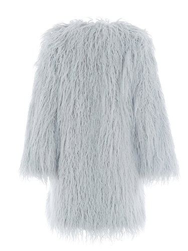 Simplee Apparel Damen Faux Fur Jacek Winter Elegant Lang Warm Kunstfell Jacke Mantel Coat Grau