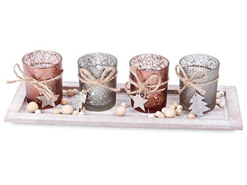 Set paysage de Noël plateau en bois et quatres photophores en verre et des petites boules décoratives en bois (946125) Véritable petite scène représentant un paysage de Noël, idéal pour la décoration de votre table