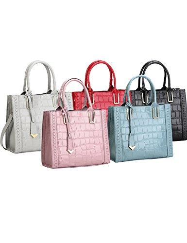 Menschwear Damen Echtes Leder Handtasche Elegant Taschen 28cm