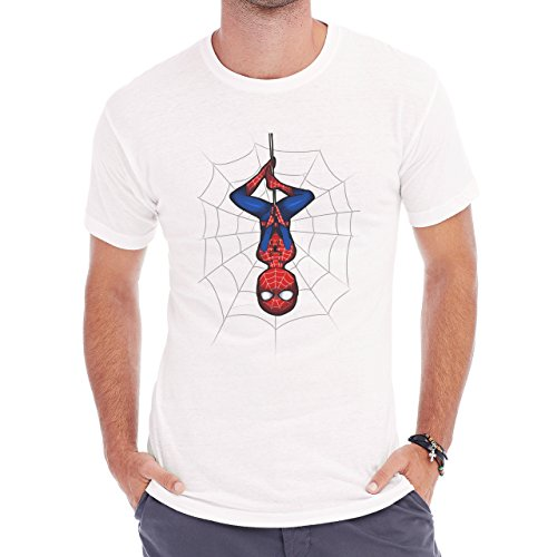 Spiderman Peter Parker Super Heroe Upside Down Hanging Web Herren T-Shirt Weiß