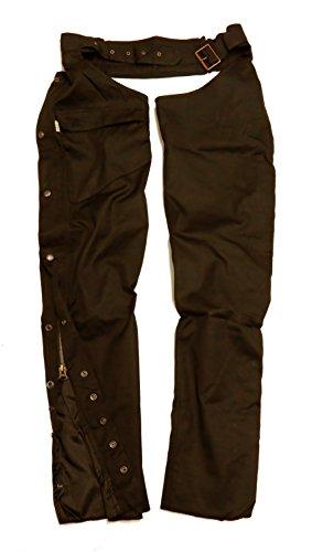 gewachste Überzieh- Chaps in schwarz und braun, wasserabweisend und atmungsaktiv zum Motorrad fahren und reiten (Stretch-reiten-jean)