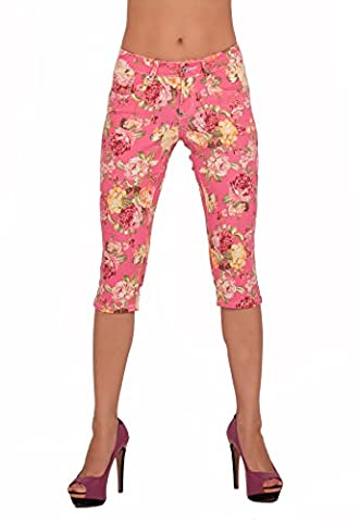 HBRSMC - 059 Pink Floral Printed Capri Cotton Knee Length shorts Stylish sexy summer wear US SIZE 7 (UK Size 9)