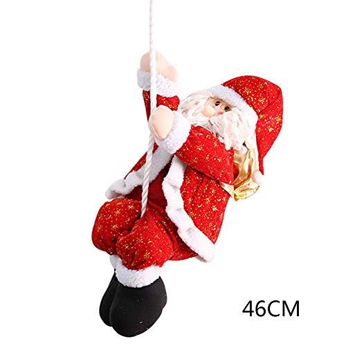 Poseca Corde Escalade Père Noël pour Arbre de Noël Intérieur Mur extérieur Fenêtre Suspendus Pendentif Ornement Décor 22cm / 30cm / 36cm / 46cm / 56cm / 66cm