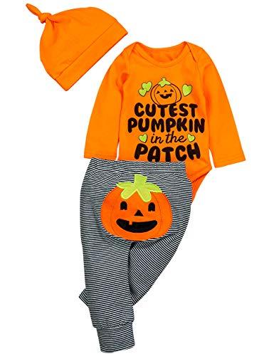 Neugeborenen Kürbis Kostüm - Ttkgyoe Mein 1. Halloween-Kürbis-Kostüm-Baby-Mädchen-Spielanzug-Oberseite + Streifen-Hose + Hut 3pc neugeborenes Ausstattungs-Set