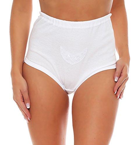3er Pack Damen Taillen-Slips mit Baumwollspitze (Schlüpfer, Slip, Unterhose) Nr. 407 Weiß
