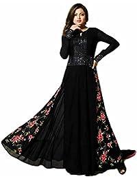 Ethnic Wings Women Georgette Anarkali Semi-Stitched Salwar Suit (EW&ER_ER10734_Black_Free Size)