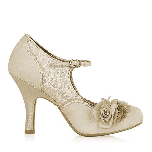 XINJING-S Ruby verscheuchen Emily Blume Hochzeit Gerichte Geschlossen toe Pumps Schuhe Größe Uk 3-8 39