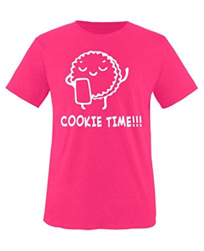Comedy Shirts - Cookie time! Keks - Mädchen T-Shirt - Pink/Weiss Gr. 152-164 - Cookies Wanderer