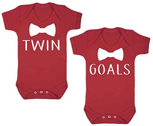 Juego de 2objetivos pajarita bebé chalecos de Babygrow Body Onesie Baby Shower regalos–rojo blanco blanco Talla:0-3 Meses