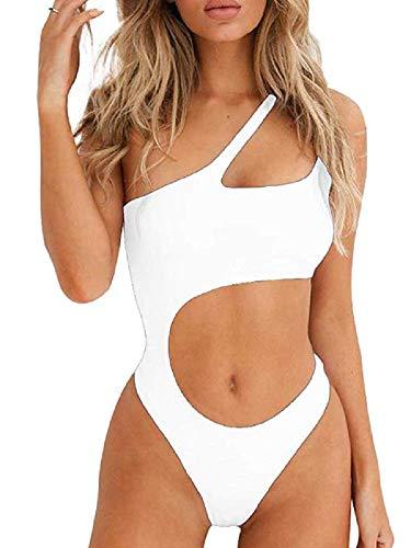 eanzug - Badebekleidung - Ein-Schulter-Bikini mit Ausschnitt in Taille, gepolstertem und brasilianischem Top Push Up - Sexy Beachwear für Meer und Pool (Weiß, L) ()