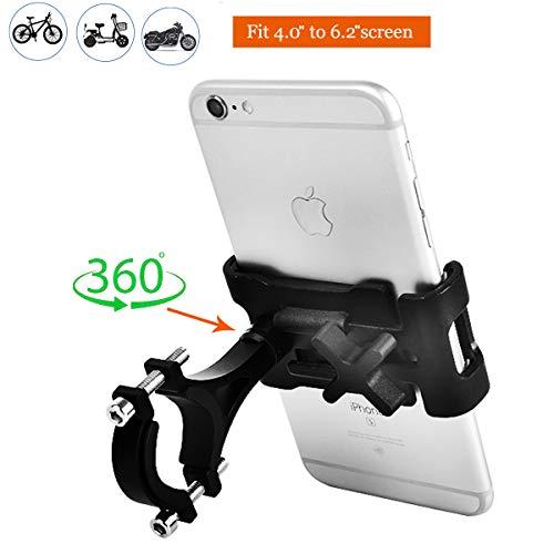 VOHONEY Handyhalterung Fahrrad Aluminium Handyhalter Motorrad Handy Halterung Anti-Shake Fahrrad Handy Halterung Universal für 4,0-6,2 Zoll Smartphone mit 360° Drehbar(Handyhalterung Fahrrad Schwarz)