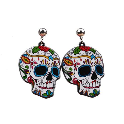 Schädel Ohrringe Hip Hop Party Stil Ohrringe Für Mädchen Zucker Schädel Blume Ohrringe Halloween Tage Geschenke ()