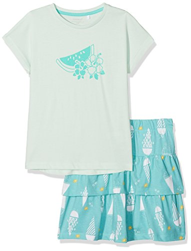 NAME IT Mädchen Bekleidungsset Nkfvegas Capsl Set K, Mehrfarbig (Dusty Aqua Detail:Set W. Vigga Skirt in Pool Blue Comb. 2), 122 (Herstellergröße: 122-128) (Aqua-print-rock)