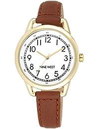 Nine West para mujer reloj infantil de cuarzo con esfera analógica blanca y correa de piel color marrón NW/1698wtbn