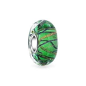 Grün Schwarz Gold Glitzer Swirl Murano Glas Sterling Silber Bead Charm Passend Für Europäische Charm Armbänd Für Frauen