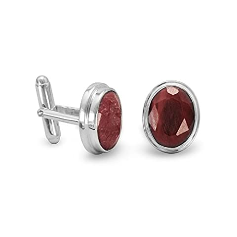 Sterling Silver and Rough-cut Ruby Cuff Links The Faceted Oval Rubies Measure 11mm X 15mm