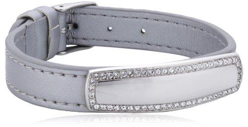 s.Oliver Jewel Damen Armband Edelstahl Leder Glaskristall 22.0 cm weiß 487641