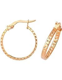 9ct Yellow Gold Medium Diamond Cut Patterned Earrings