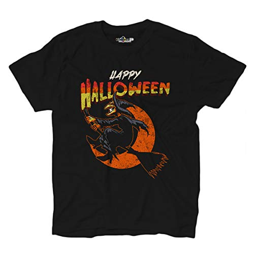 KiarenzaFD T-Shirt Happy Halloween Horror Kürbis Hexe Moon Night, Herren, schwarz, Small (Oder Halloween-nacht Trick Behandeln)