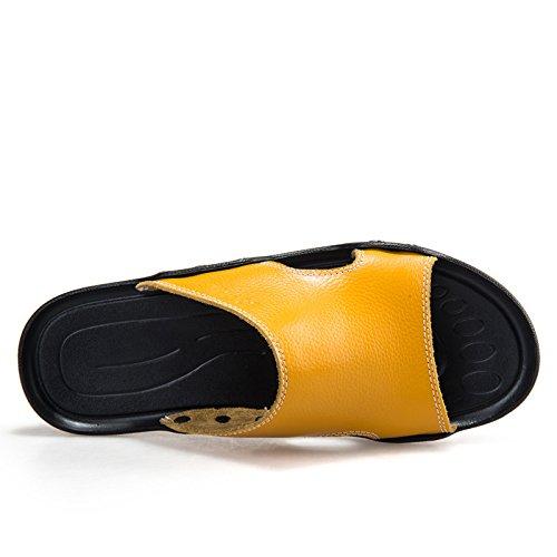 Pantoufles, chaussons pour hommes, Chaussons en cuir, mens casual chaussures de plage, piscine accueil chaussons white