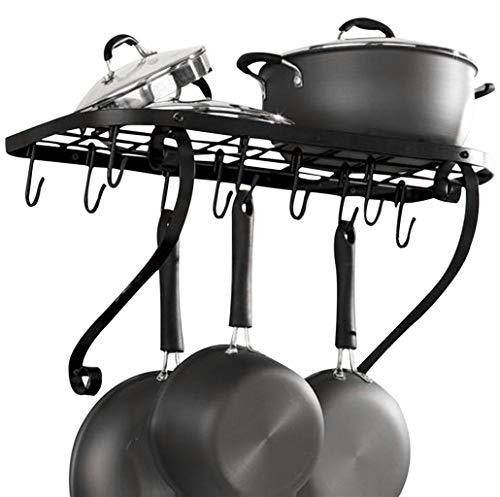 Gjfhome Multi-Function Topfdeckelhalter Deckelhalter, Küchenwand Pan Rack Mit 6 Haken (Schwarz) Gewürzregal Wall Oval Pot Rack
