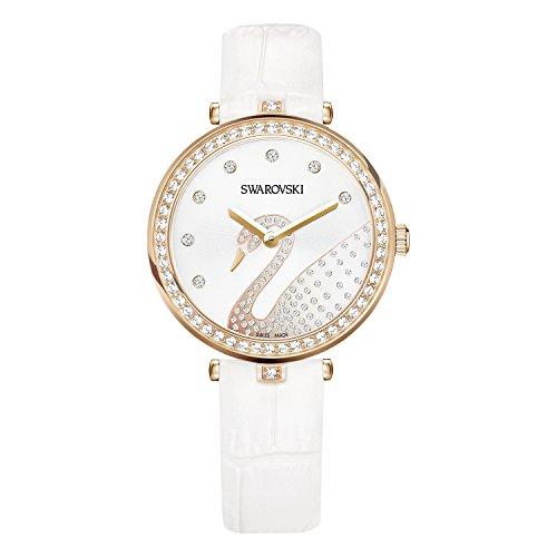 Swarovski Aila Dressy Damen-Armbanduhr 34mm Armband Leder Weiß Quarz 5376639