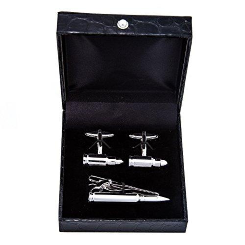 MRCUFF Manschettenknöpfe und Krawattenklammer Bullet inkl. Geschenkbox und Poliertuch