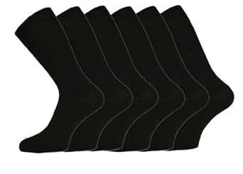 6 PAIRS Mens BLACK Big Foot Loose Top - NON ELASTIC Socks - Size 11-14