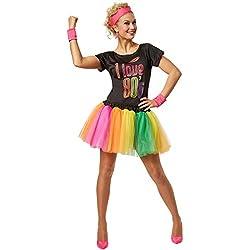dressforfun Disfraz para mujer de estrella del pop de los años 80 | Disfraz de fiesta genial de estilo de los 80 | Con muñequeras y diadema (S | no. 301672)
