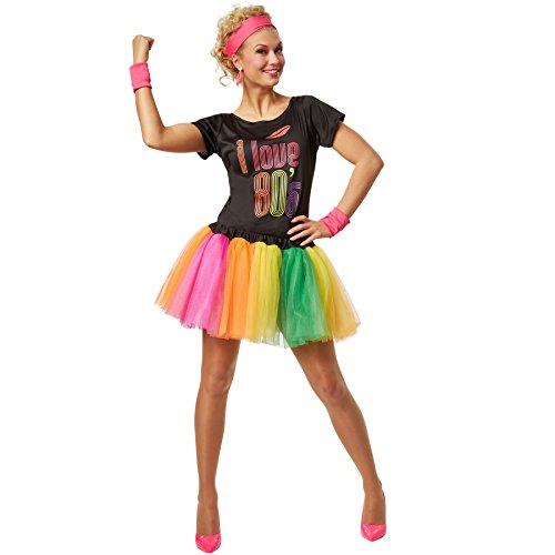 dressforfun Frauenkostüm 80er Jahre Popsternchen | Fetziges Partykostüm im 80er-Style | inkl. Schweißbändern und Stirnband (XL | no. 301675)