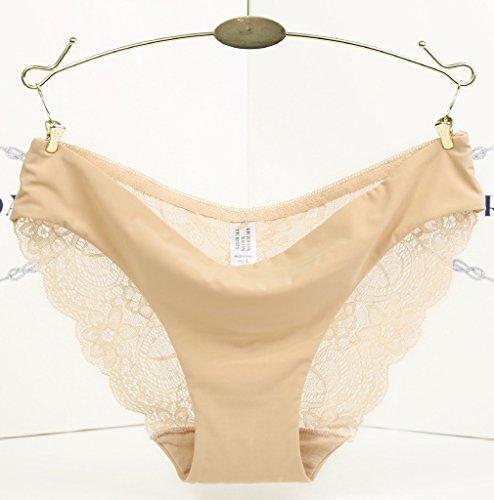 Bigood String Femme Coton Dentelle Culotte Sans Couture Lingerie Slip Sexy Transparente Complexion