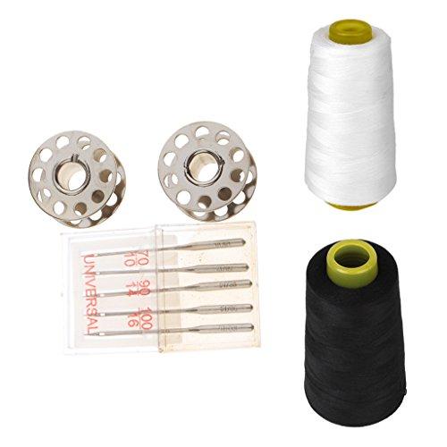 Sharplace Nähmaschine Zubehör Metall Spulen Nähmaschine Nadeln Set mit 2er Polyester-Nähgarn Für Nähmaschine